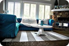 Painted Striped Nautical Rug {tuto