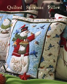 Snowman Quilted Pillow Cover